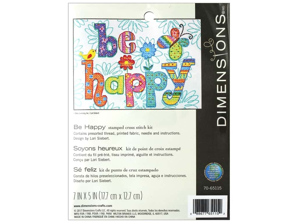Dimensions Stamped Cross Stitch Kit 7 x 5 in. Be Happy