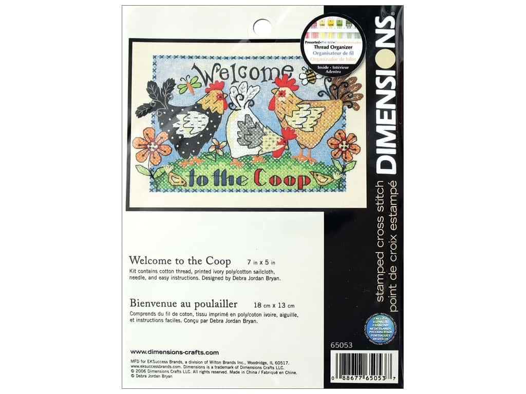 Dimensions Stamped Cross Stitch Kit 7 x 5 in. Welcome To The Coop