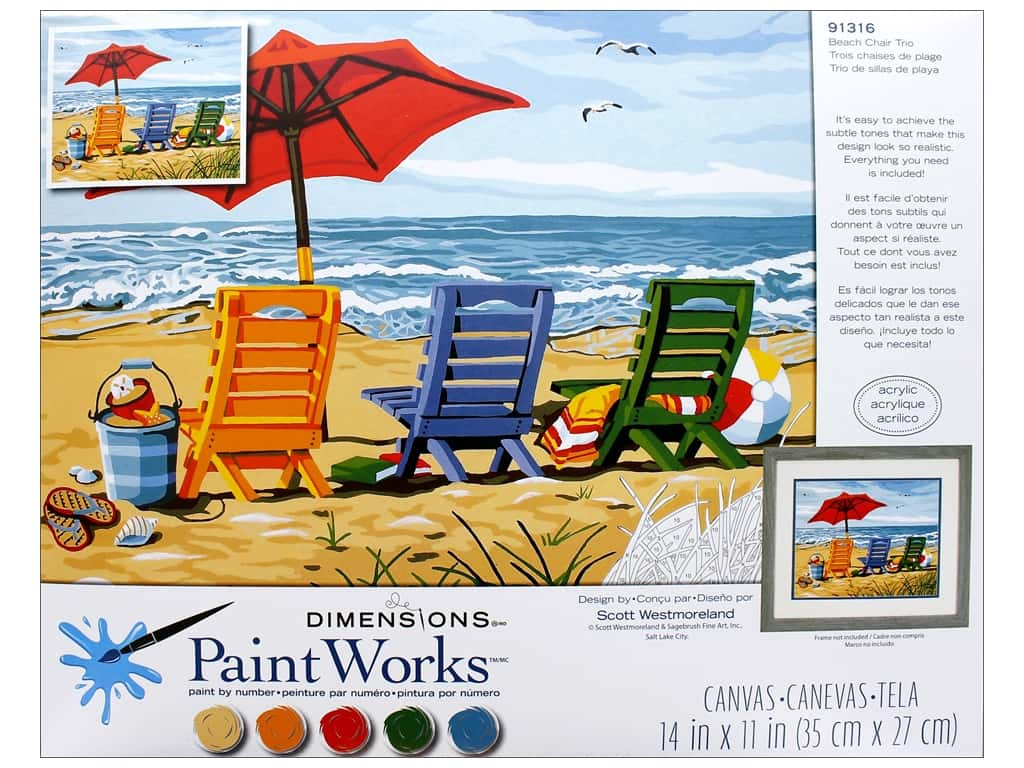 Paintworks Paint By Number Kit 14 x 11 in. Beach Chair Trio