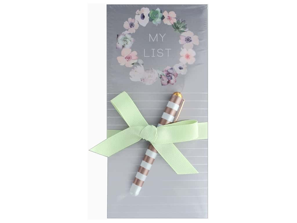 Lady Jayne Note Pad Magnetic List With Pen Floral Wreath