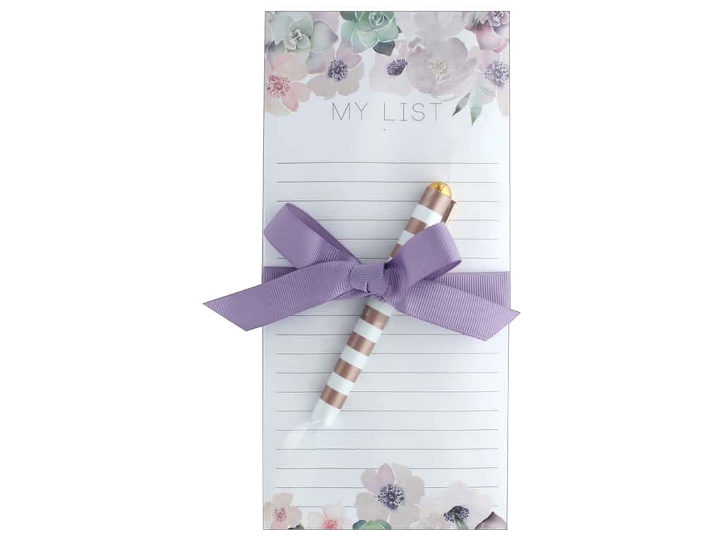 Lady Jayne Note Pad Magnetic List With Pen Floral Garland