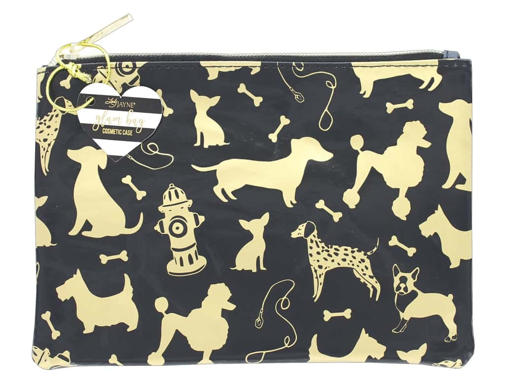 Lady Jayne Cosmetic Bag Glam Dog Silhouettes Gold Foil