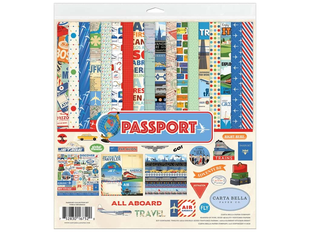 Carta Bella Collection Passport Collection Kit 12 in. x 12 in.