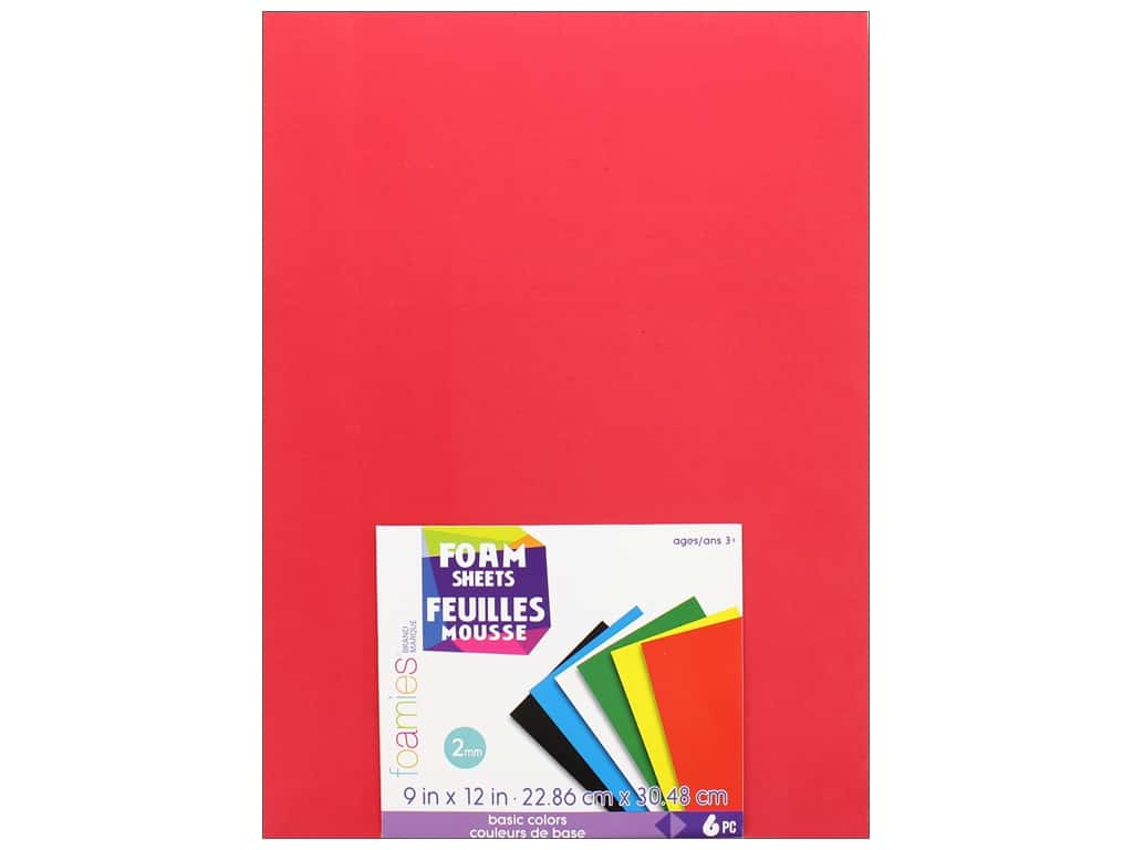 Darice Foamies Sheet 9 in. x 12 in.  2 mm Basic Colors 6 pc