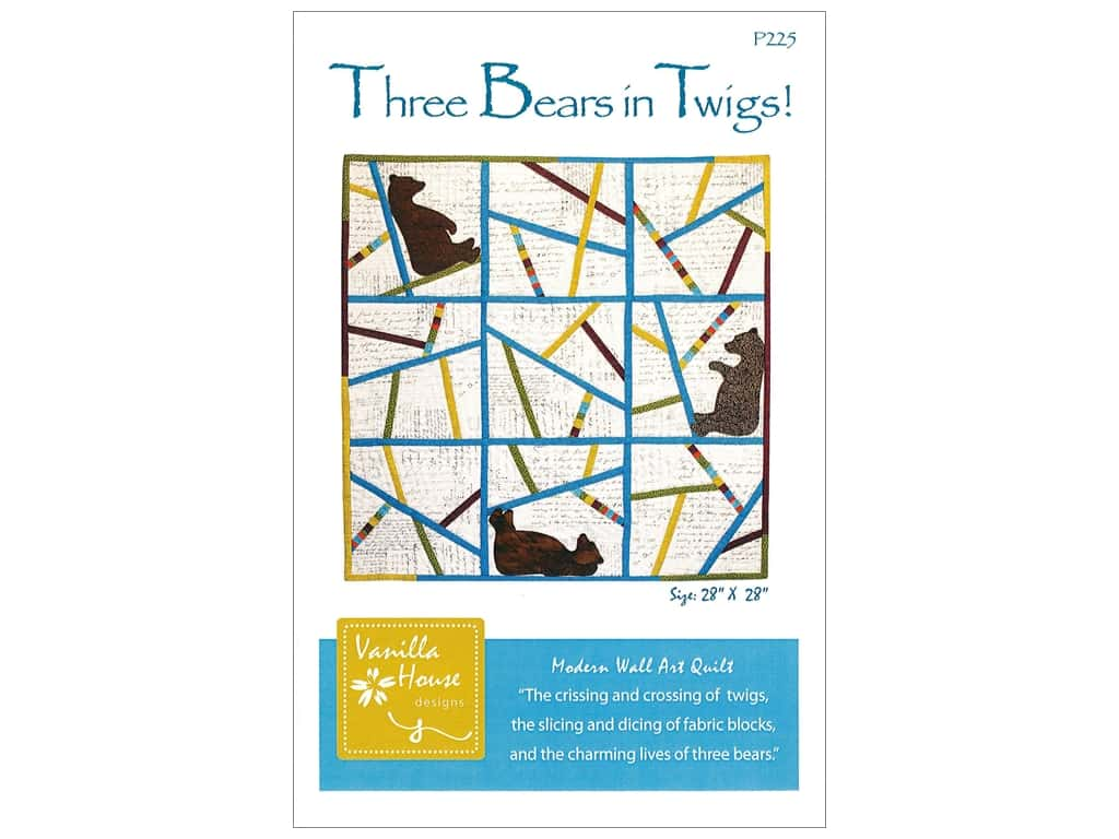 Vanilla House Three Bears in Twigs Pattern