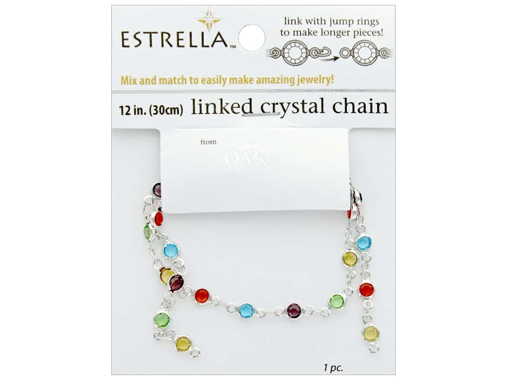 Solid Oak Chain Estrella 12 in.  Close Link 4 mm Silver/Multi