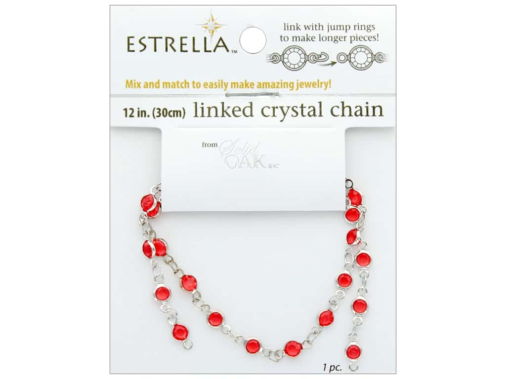 Solid Oak Chain Estrella 12 in. Close Link 4 mm Silver/Ruby