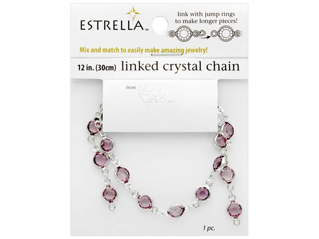 Solid Oak Chain Estrella 12 in.  Close Link 6 mm Silver Light Amethyst