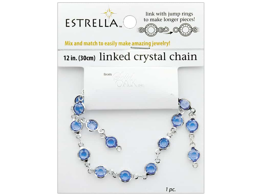 Solid Oak Chain Estrella 12 in. Close Link 6 mm Silver/Aquamarine