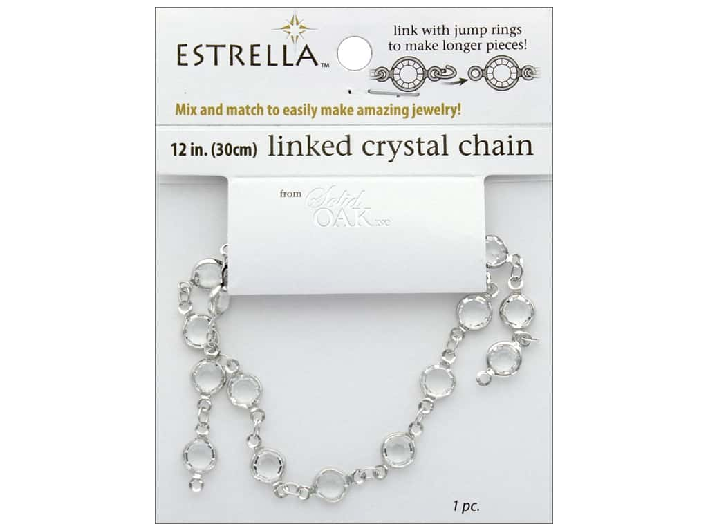 Solid Oak Chain Estrella 12 in.  Close Link 6 mm Silver/Crystal