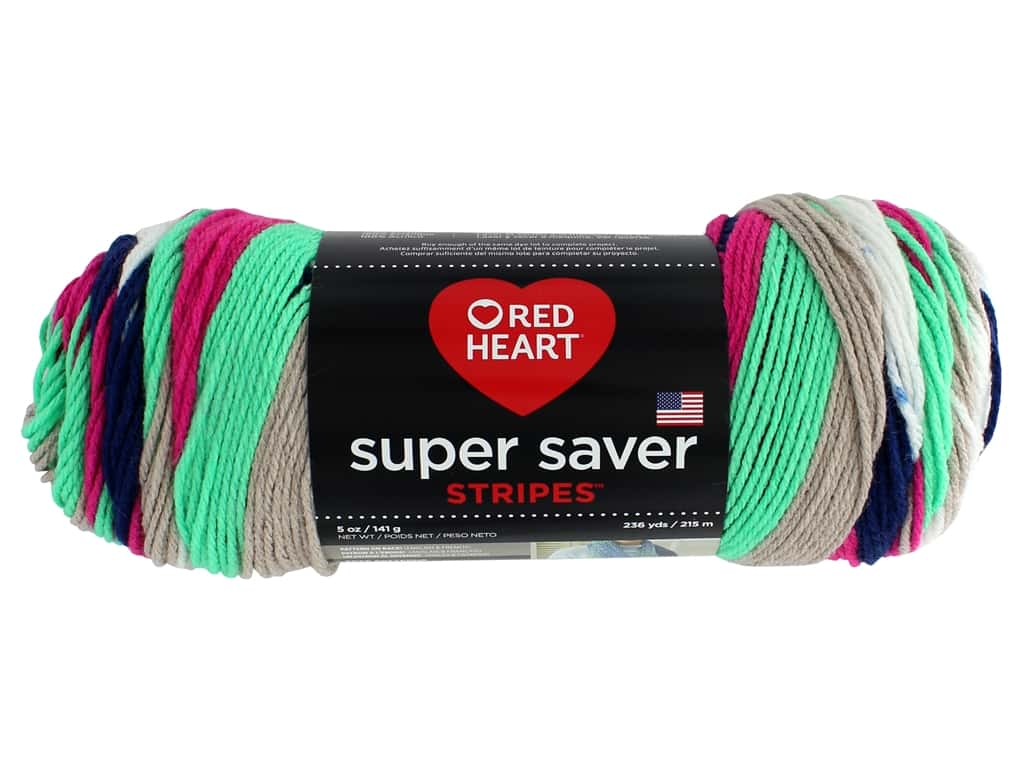 Red Heart Super Saver Yarn 236 yd. #4151 Derby Stripe