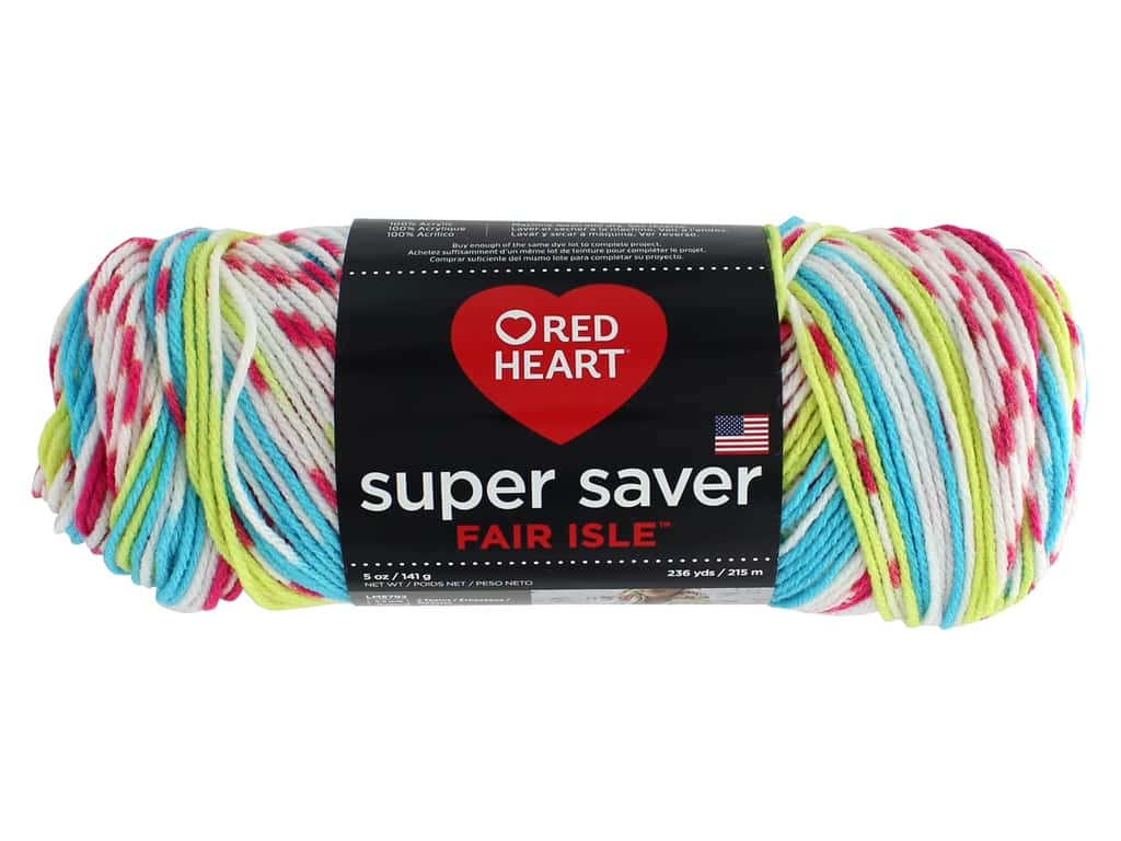 Red Heart Super Saver Fair Isle Yarn 236 yd. #7245 Candy