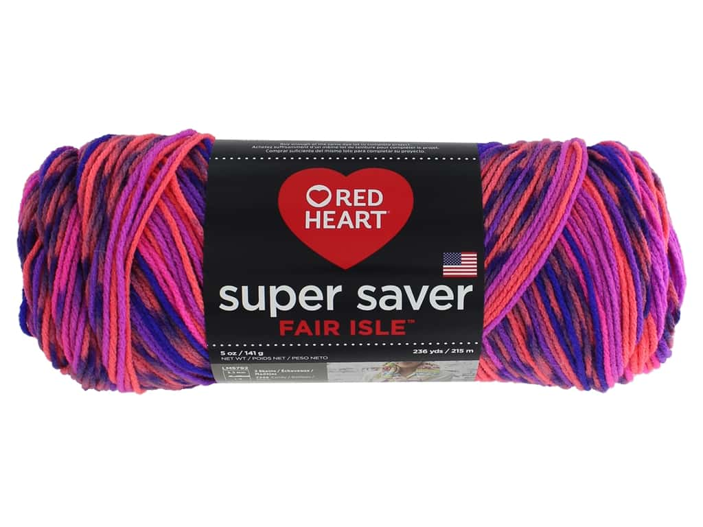Red Heart Super Saver Fair Isle Yarn 236 yd. #7259 Flamenco
