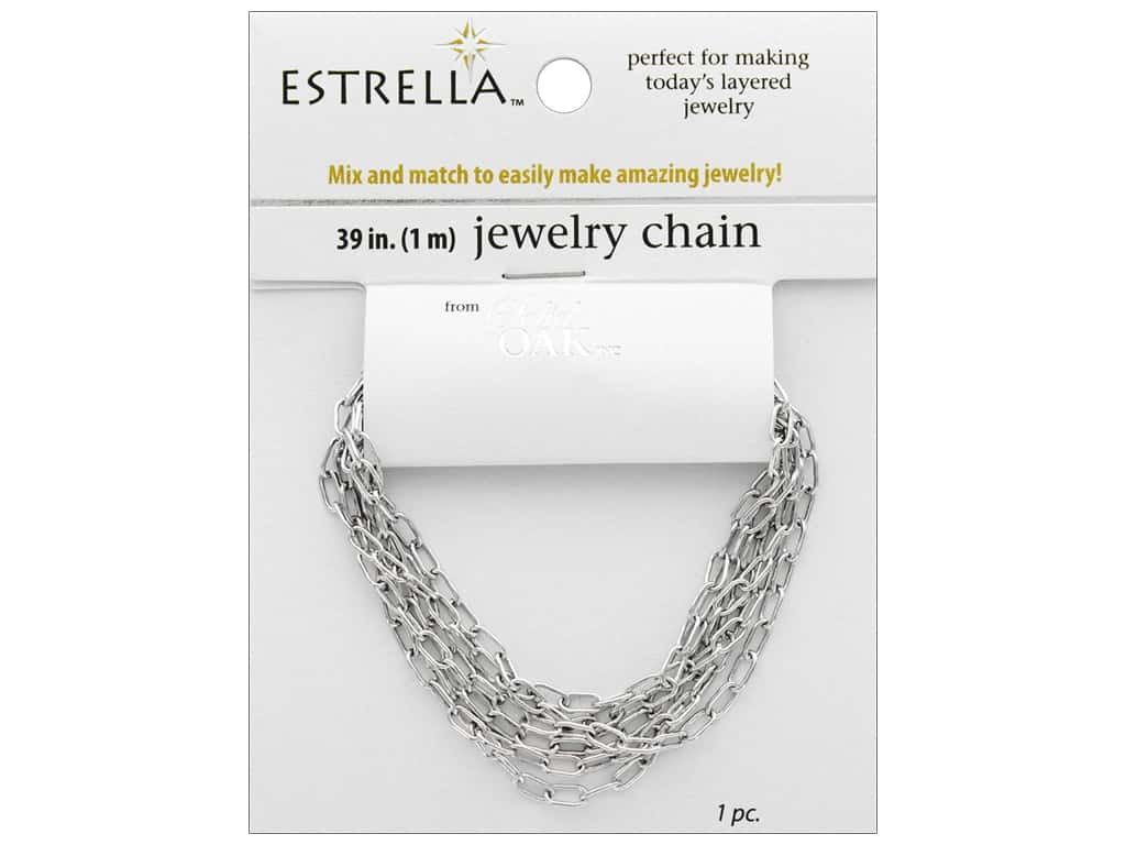 Solid Oak Chain Estrella Elongated Oval Medium Silver