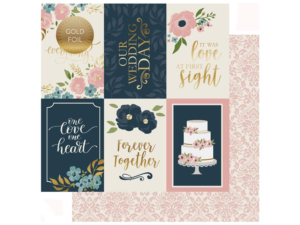 Echo Park Collection Just Married Paper 12 in. x 12 in. Journaling Cards 4 in. x 6 in. (25 pieces)