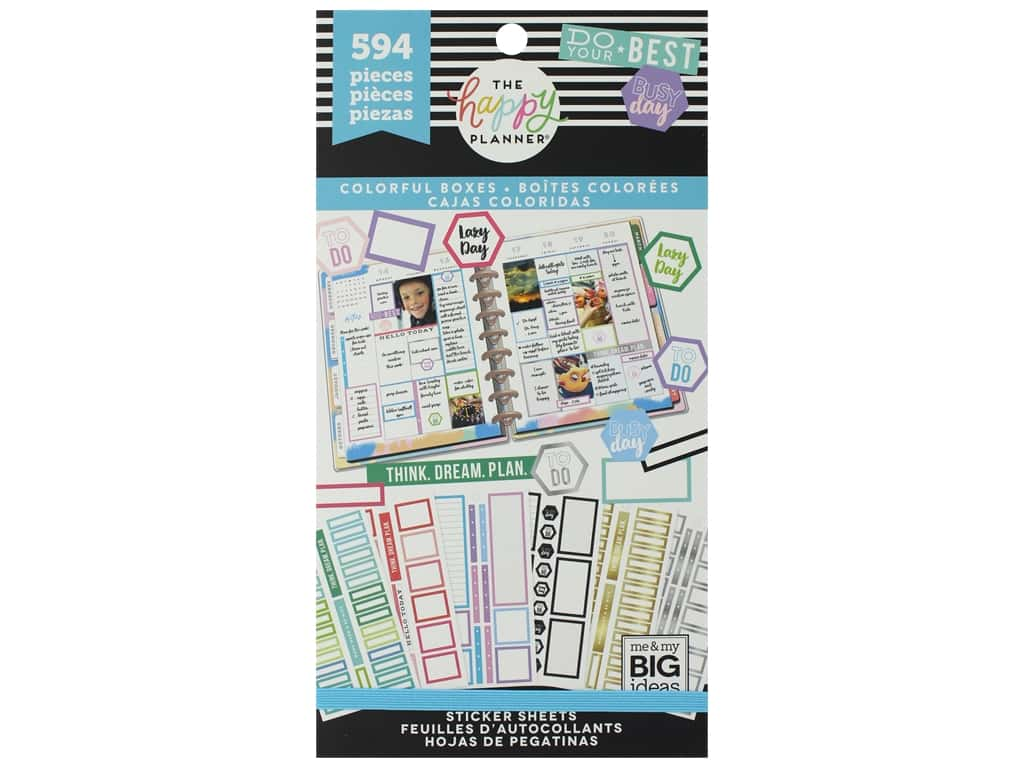Me&My Big Ideas Happy Planner Sticker Value Pack Colorful Boxes