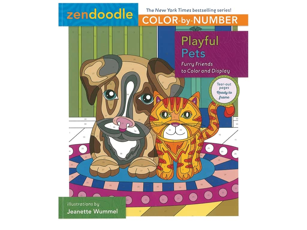 St Martin's Griffin Zendoodle Color By Number Playful Pets Book