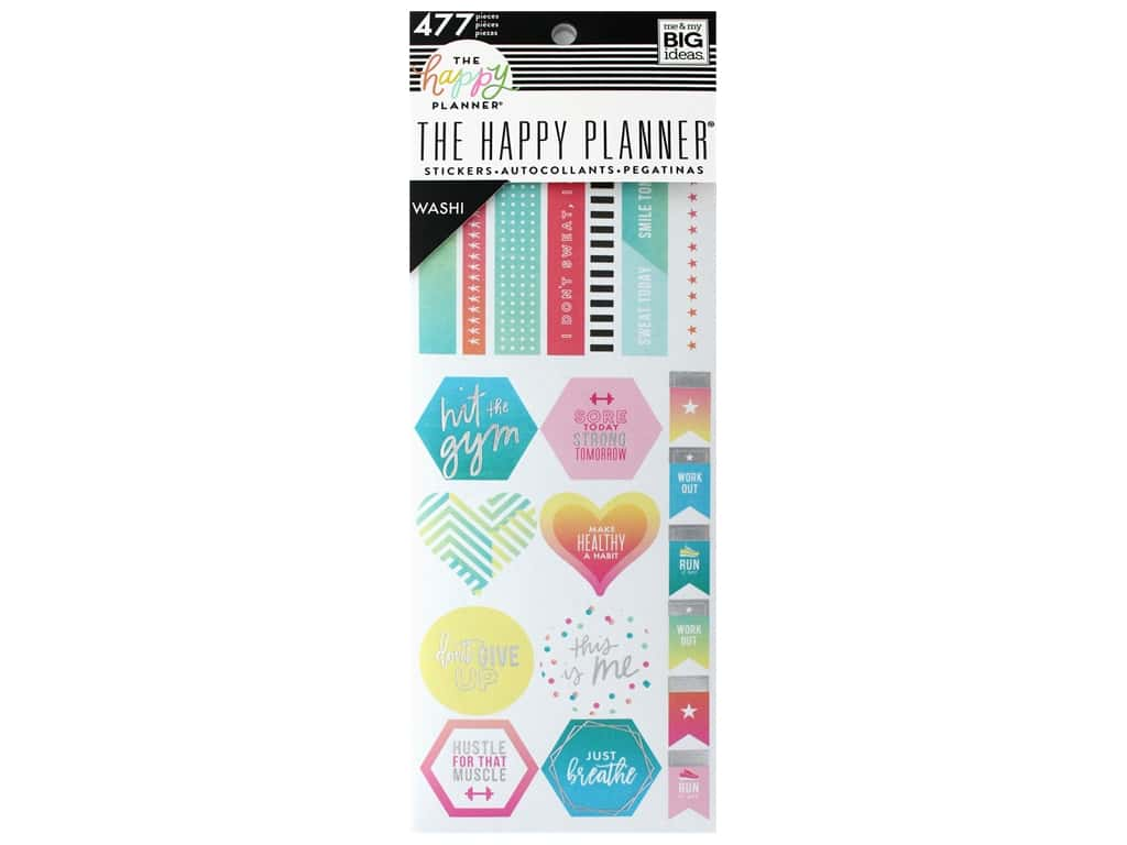 Me&My Big Ideas Collection Create 365 Happy Planner Washi Book Fitness