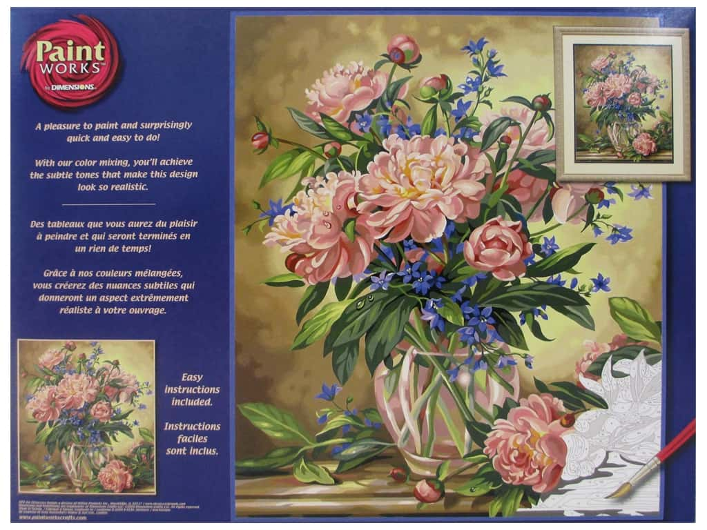 Paintworks Paint By Number Kit 16 x 20 in. Peony Floral