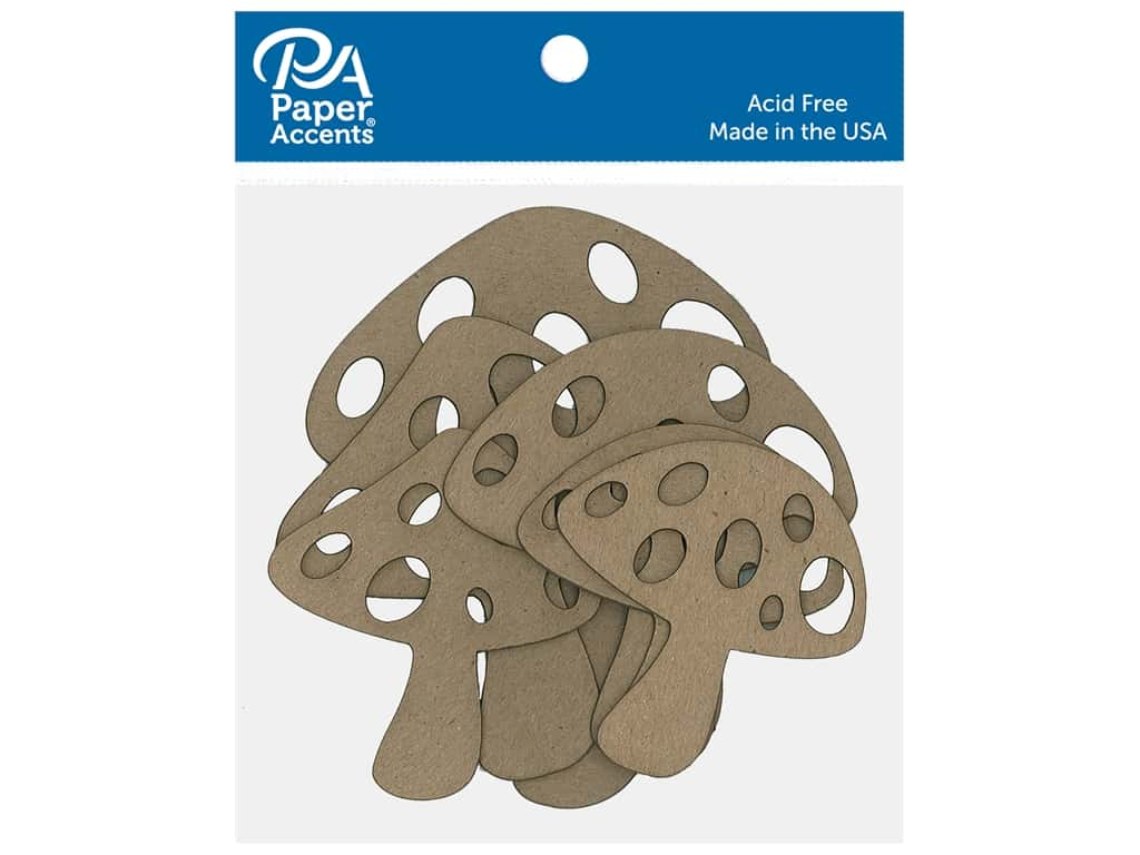 Paper Accents Chip Shape Mushrooms Natural 6 pc