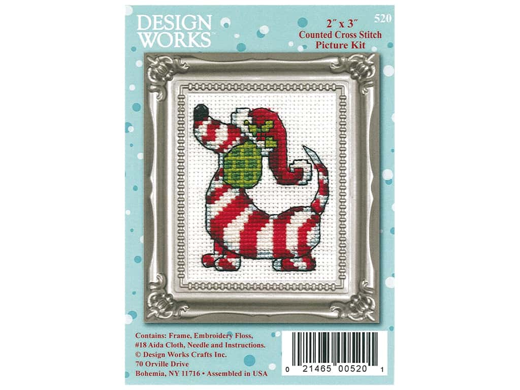 Design Works Counted Cross Stitch Kit 2 x 3 in. Candy Cane Dog