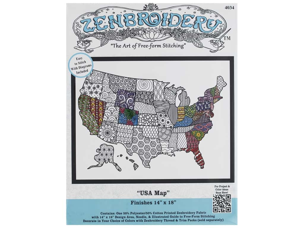 Design Works Zenbroidery Fabric 14 in. x 18 in. USA Map