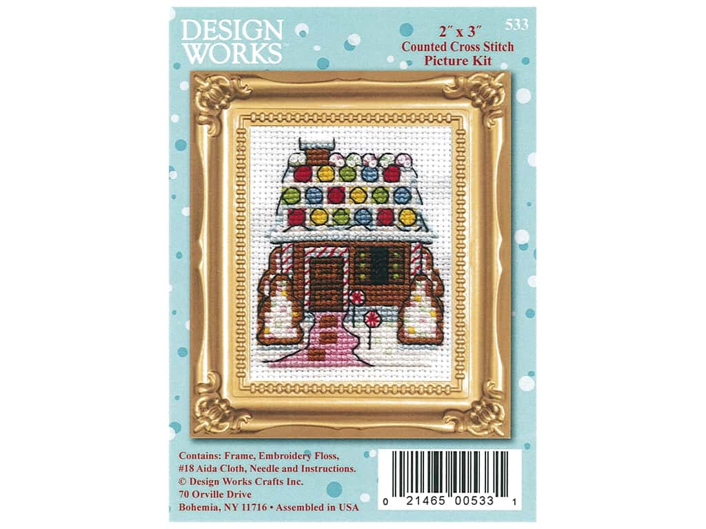 Design Works Counted Cross Stitch Kit 2 x 3 in. Gingerbread House