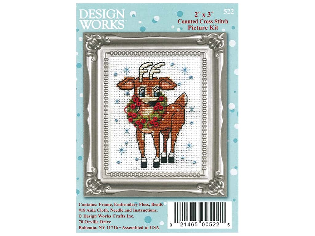 Design Works Counted Cross Stitch Kit 2 x 3 in. Reindeer