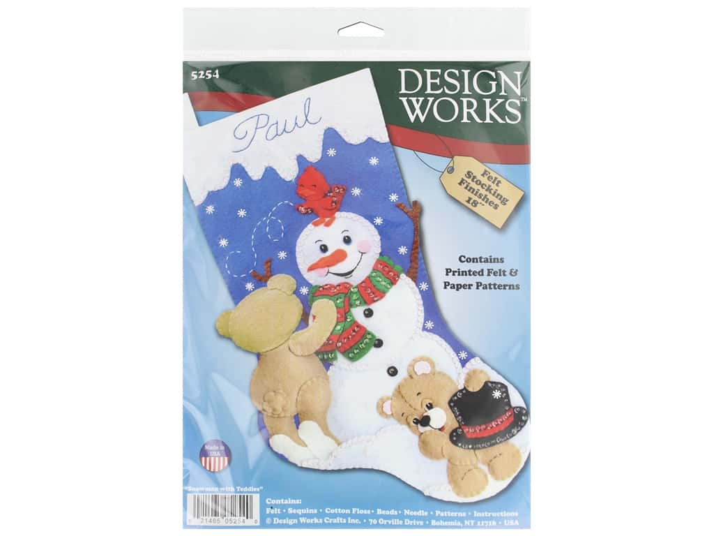 "Design Works Kit 18"" Felt Stocking Snowman With Teddies"