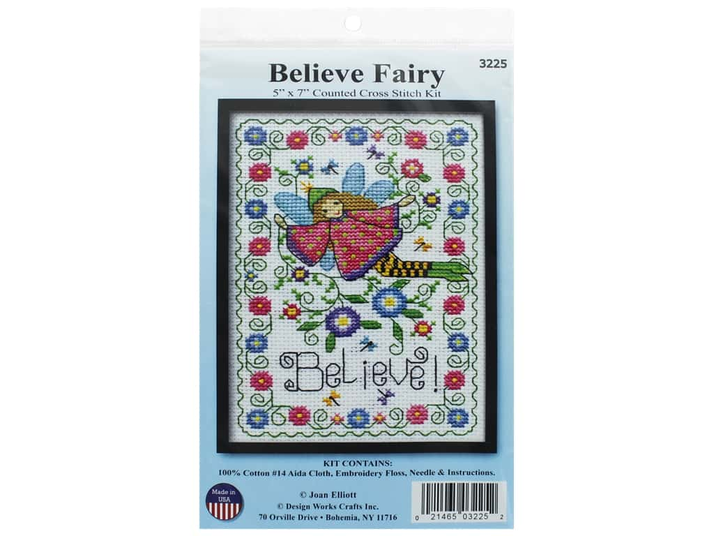 Design Works Counted Cross Stitch Kit 5 x 7 in. Believe Fairy