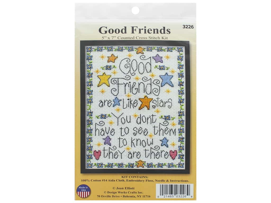 Design Works Counted Cross Stitch Kit 5 x 7 in. Good Friends
