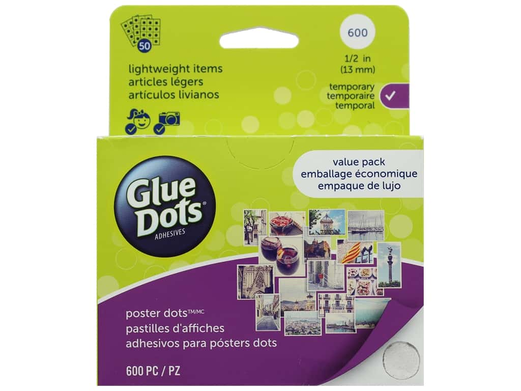 Glue Dots School Value Pack Poster 1/2 in. 600 pc.