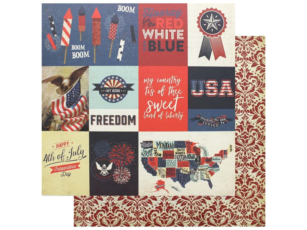 Photo Play 12 x 12 in. Paper Red White Blue Rocket's Red Glare (25 pieces)
