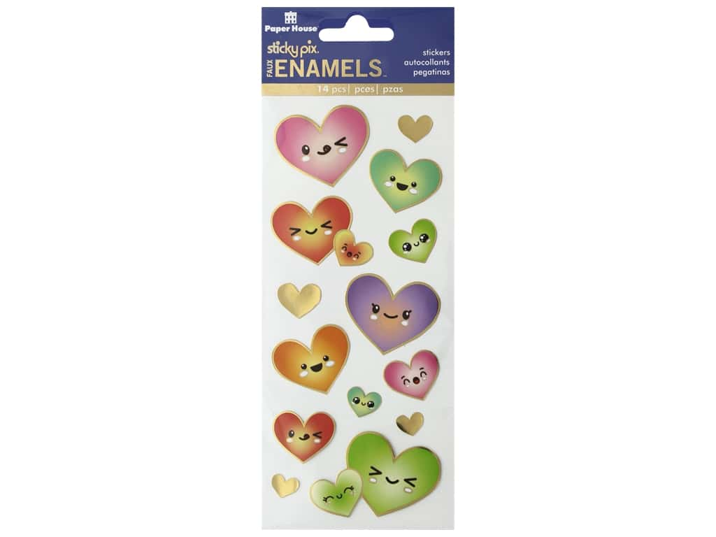 Paper House Sticker Enamel Kawaii Hearts