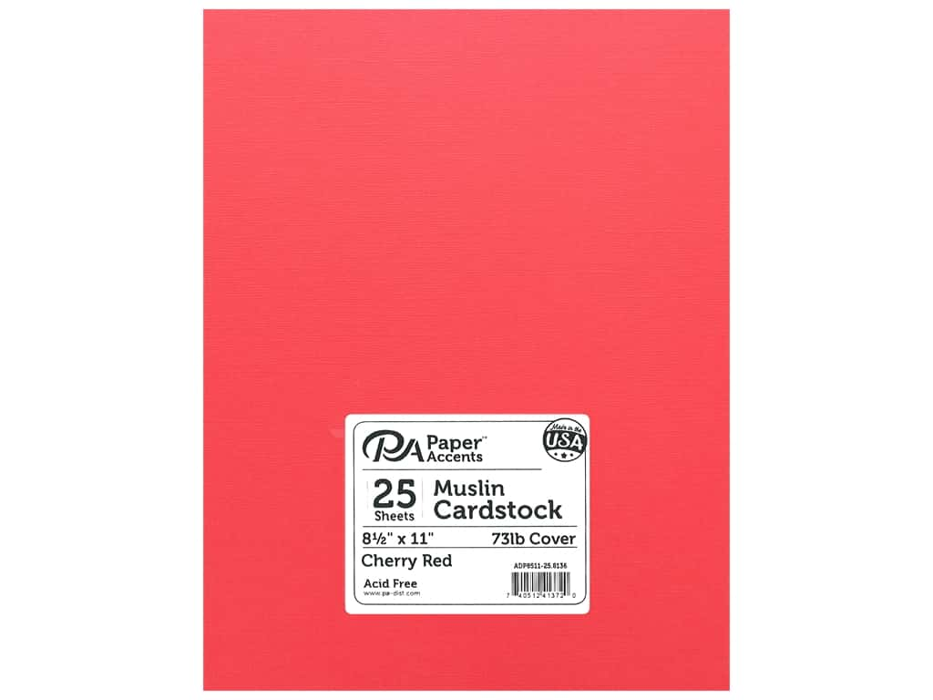 Paper Accents Cardstock 8.5 in. x 11 in. Muslin 74 lb Cherry Red (25 sheets)