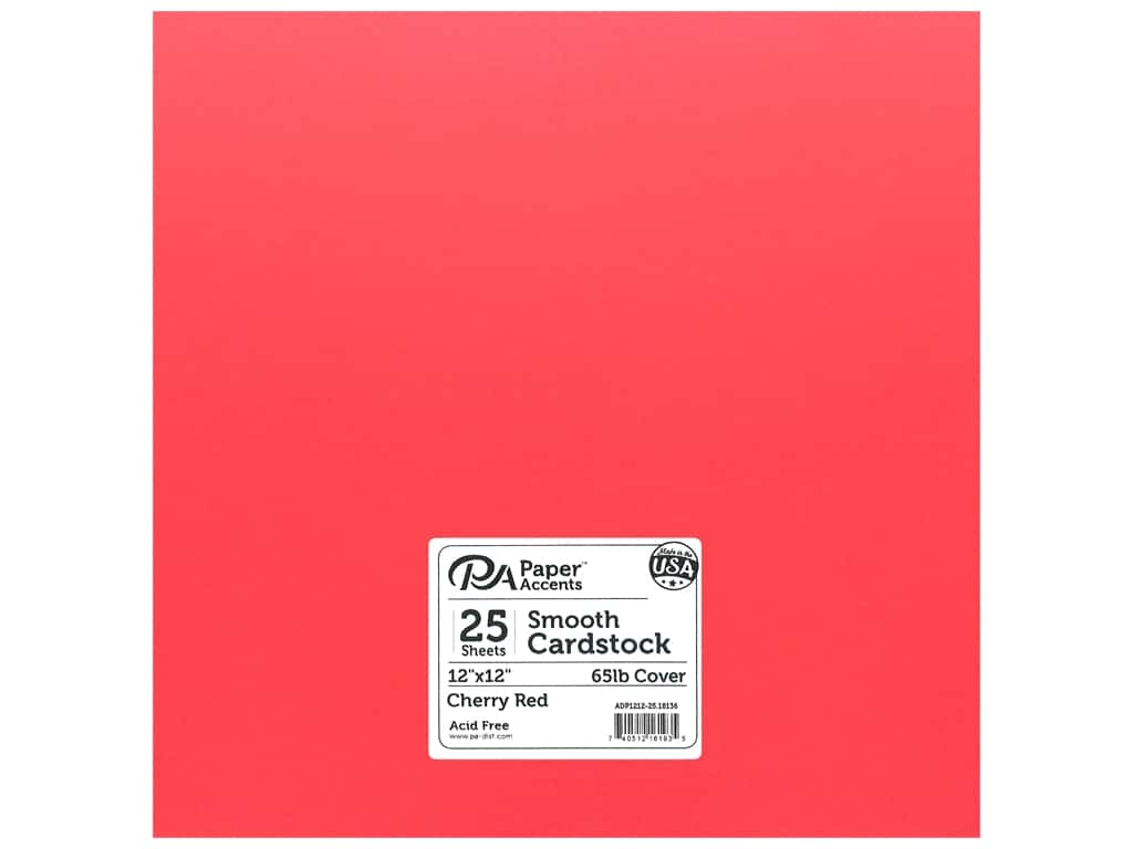 Paper Accents Cardstock 12 x 12 in. #18136 Smooth Cherry Red 25 pc.