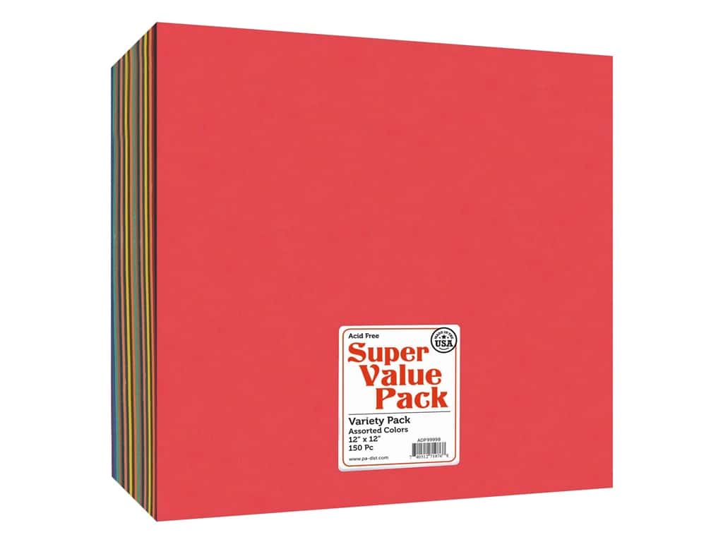 Paper Accents Cardstock 12 x 12 in. Super Value Variety Pack 150 pc.