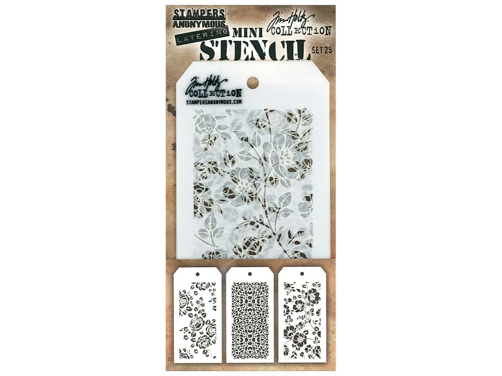Stampers Anonymous Tim Holtz Layering Mini Stencil Set #25