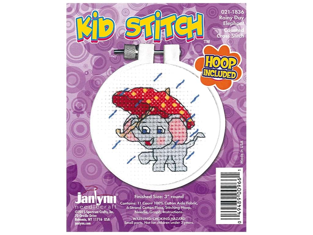 Janlynn Cross Stitch Kit Kid Stitch Rainy Day Elephant