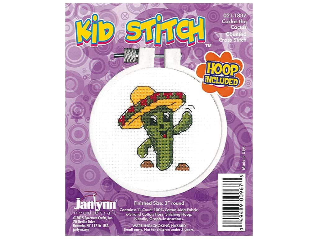Janlynn Cross Stitch Kit Kid Stitch Carlos The Cactus