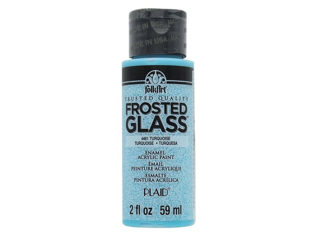 Plaid FolkArt Frosted Glass Enamel Paint 2 oz. Turquoise