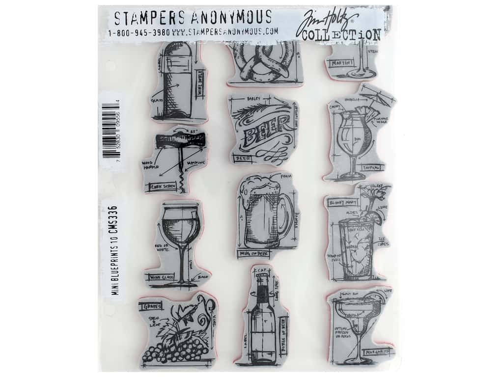Stampers Anonymous Cling Mount Stamp Tim Holtz Mini Blueprints 10