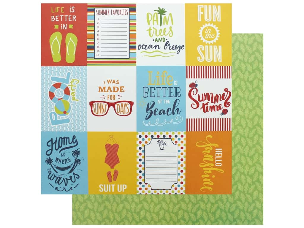 Authentique Collection Summertime Paper 12 in. x 12 in. Six (25 pieces)