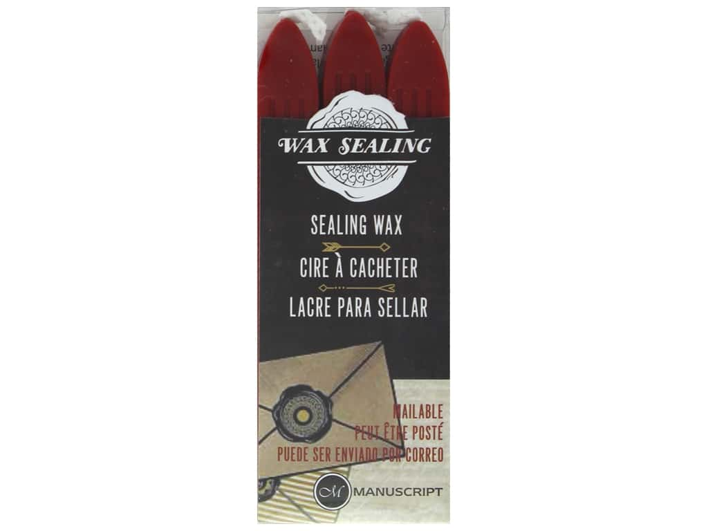 Manuscript Wax Sealing Wax with Wick 3 pc Red