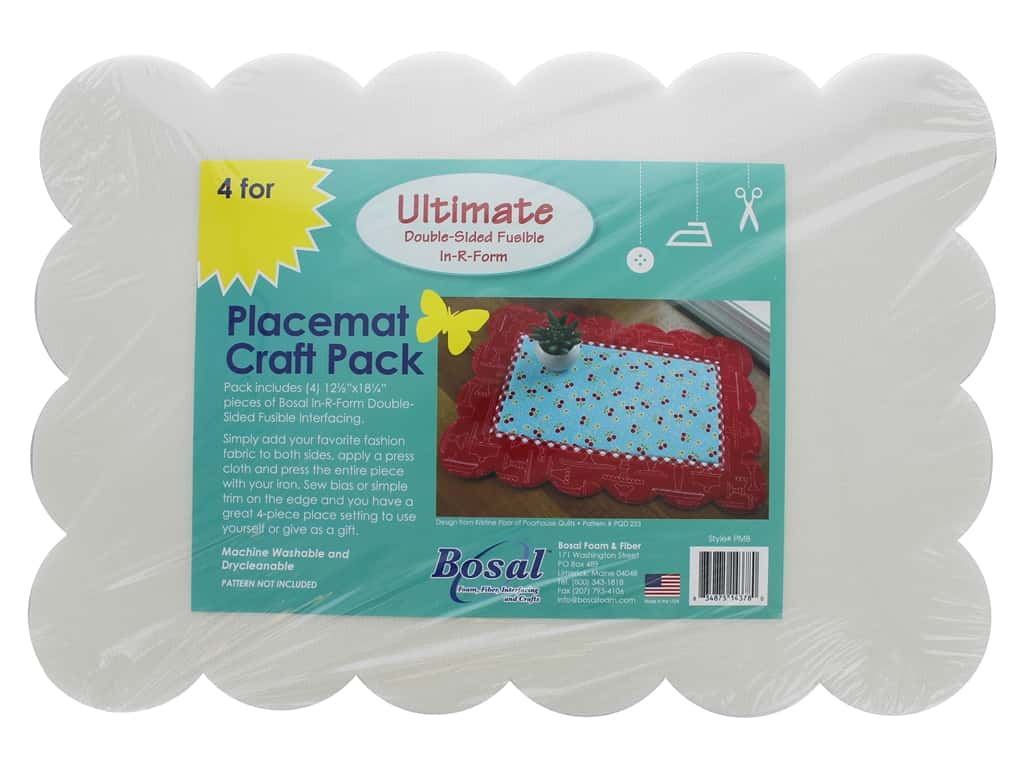Bosal In R Form Foam Stabilizer Ultimate Fusible Double Side Placemat Craft Pack