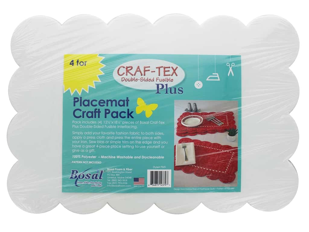 Bosal Craf Tex Plus Fusible Double Side Placemat Craft Pack