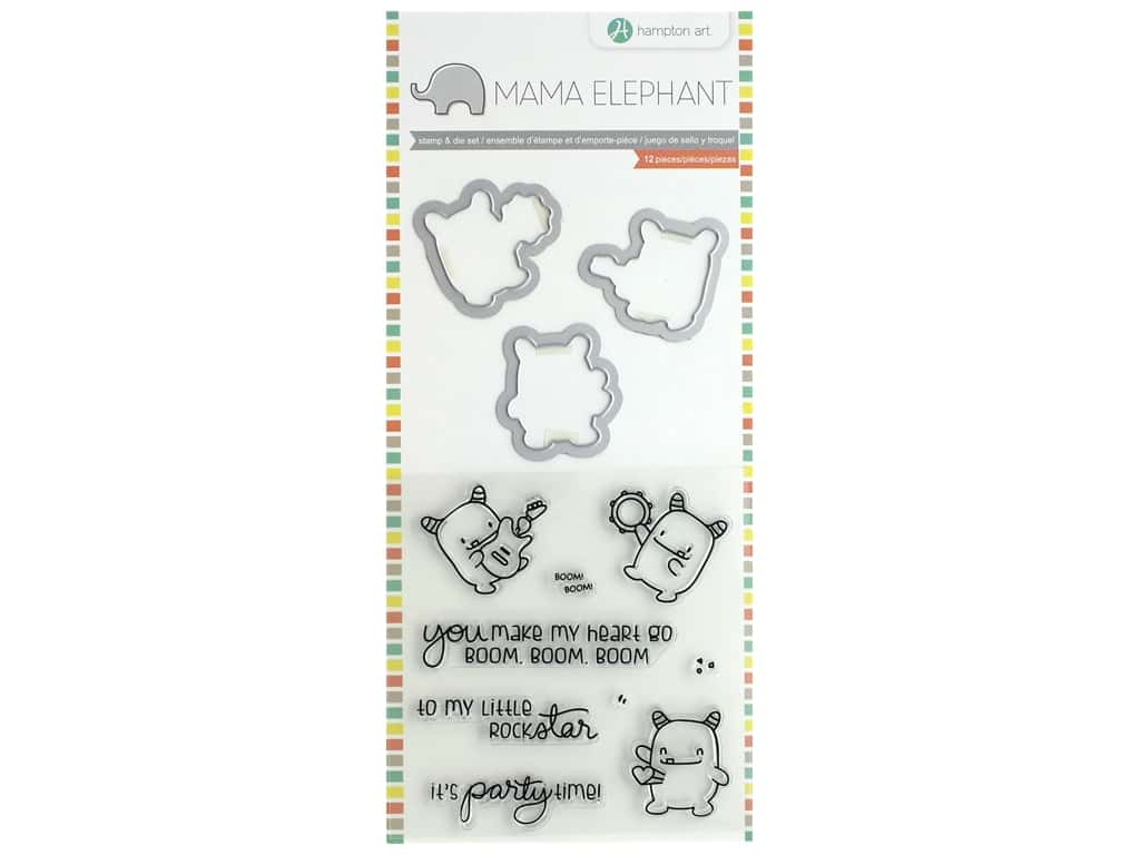 Mama Elephant Clear Stamp & Die Set Rock Monster