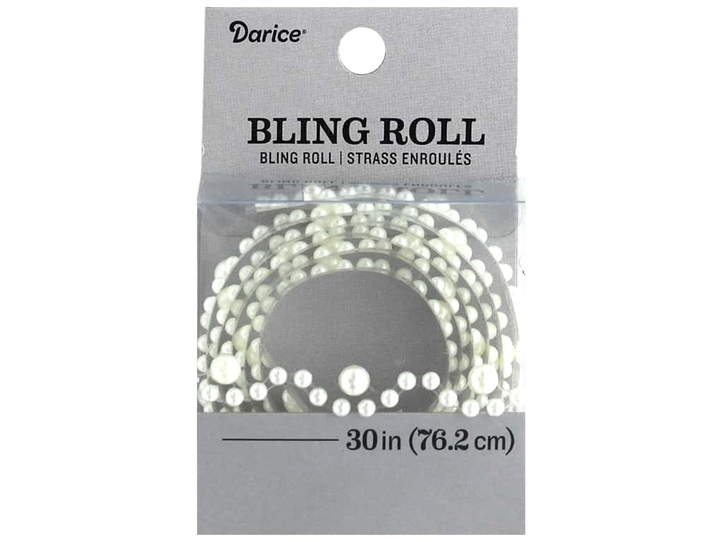Darice Sticker Bling Roll Eyelet White Pearl 30 in.