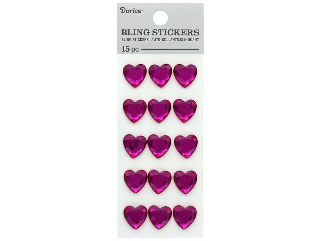Darice Sticker Bling Rhinestone Heart Pink 15 pc
