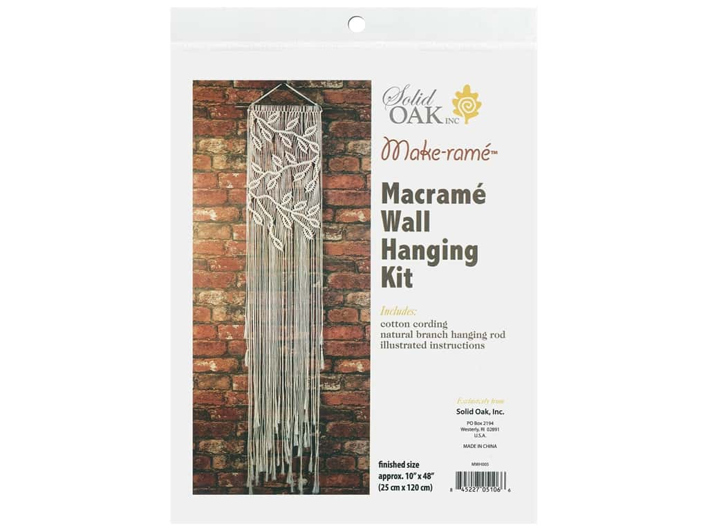 Solid Oak Kit Macrame Wall Hanger Leaves & Branches